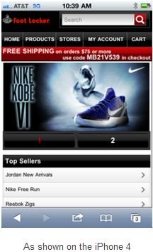 Foot Locker's mobile site as seen on the iPhone 4