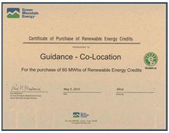 Guidance's Renewable Energy Credits certificate