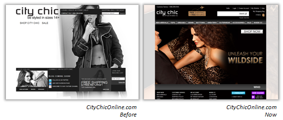 CityChicOnline.com, Before & After