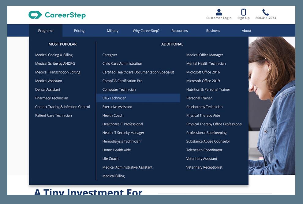 CareerStep menu screenshot
