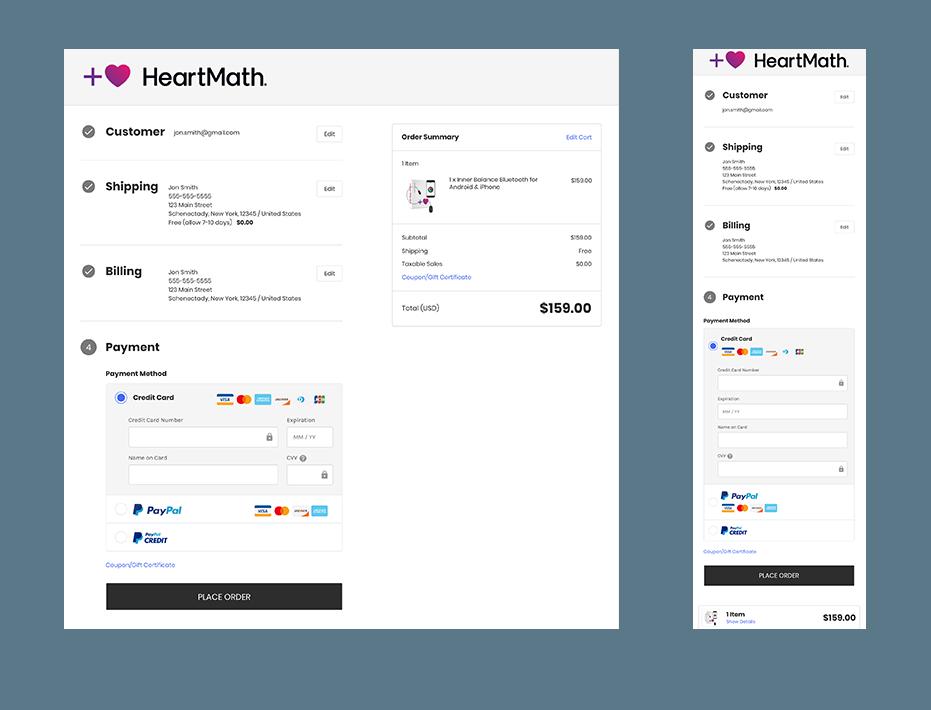 HeartMath Cart Checkout