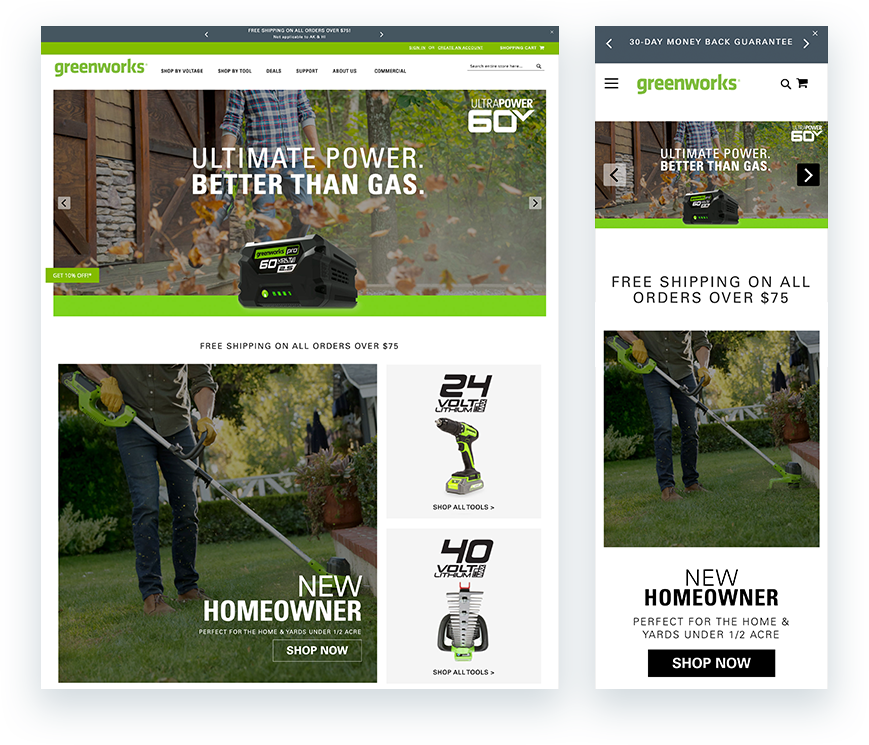 homepage layouts for desktop and mobile