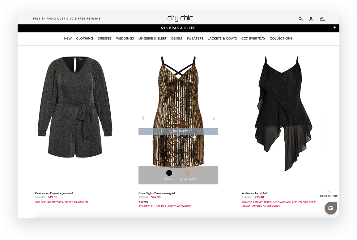 City Chic PLP Browsing