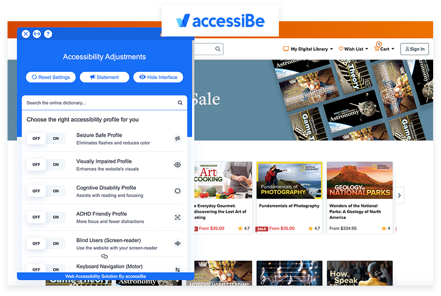 The Great Courses - a11y with accessiBe